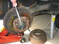 Remove the rear hub cap
